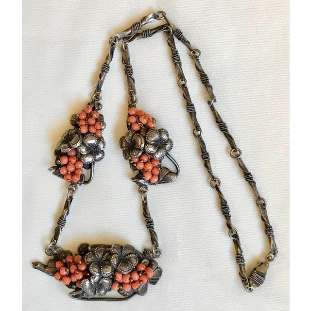 1930s Sterling and Coral Necklace For Sale - Image 4 of 7