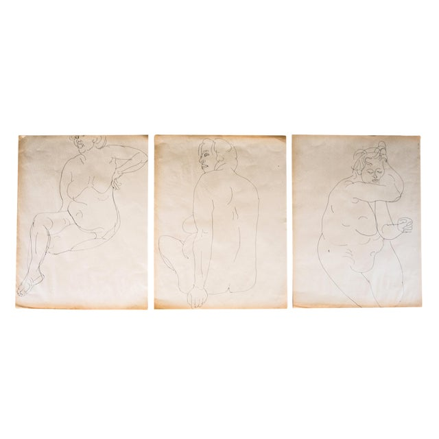 Original Large Scale Mid-Century Triptych of Nudes - Set of 3 - Image 1 of 9