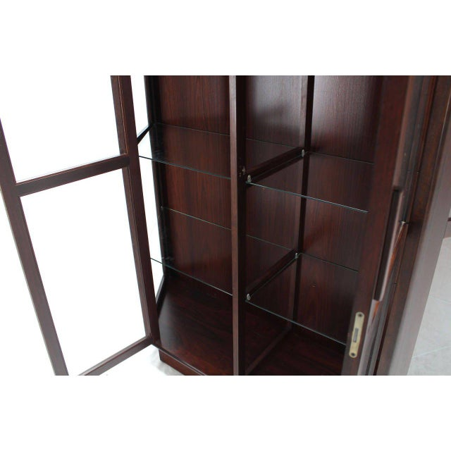 Trapezoid Shape Danish Modern Rosewood China Curio Cabinet For Sale - Image 4 of 5