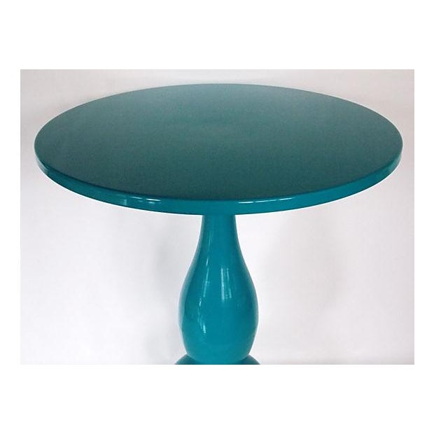 Teal Lacquer Bistro Table - Image 3 of 8