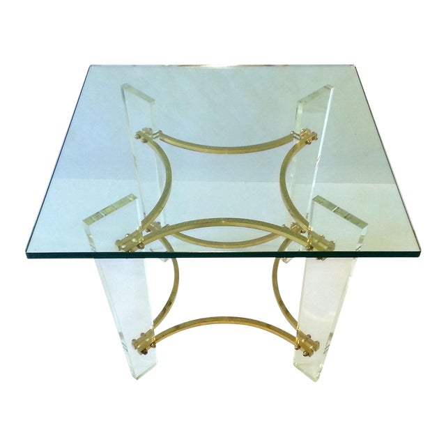 Vintage 1970's Lucite, Brass & Glass Coffee Table For Sale