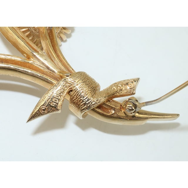 1950s Vintage Marcel Boucher Gold Tone Coral Flower Brooch For Sale - Image 9 of 12