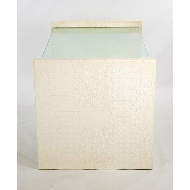Karl Springer Karl Springer Albino Python Glass Top Side Table For Sale - Image 4 of 13