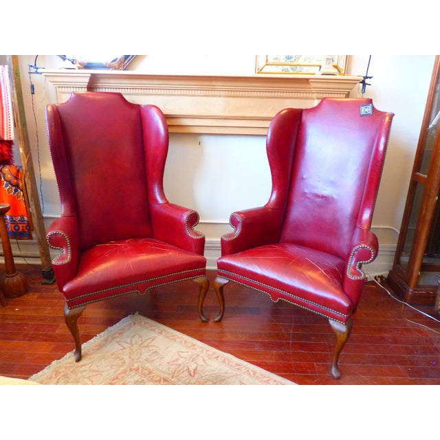 1960s Vintage Red Leather Wingback Chairs With Nailhead Detail and Generous Proportions- Pair For Sale - Image 5 of 13