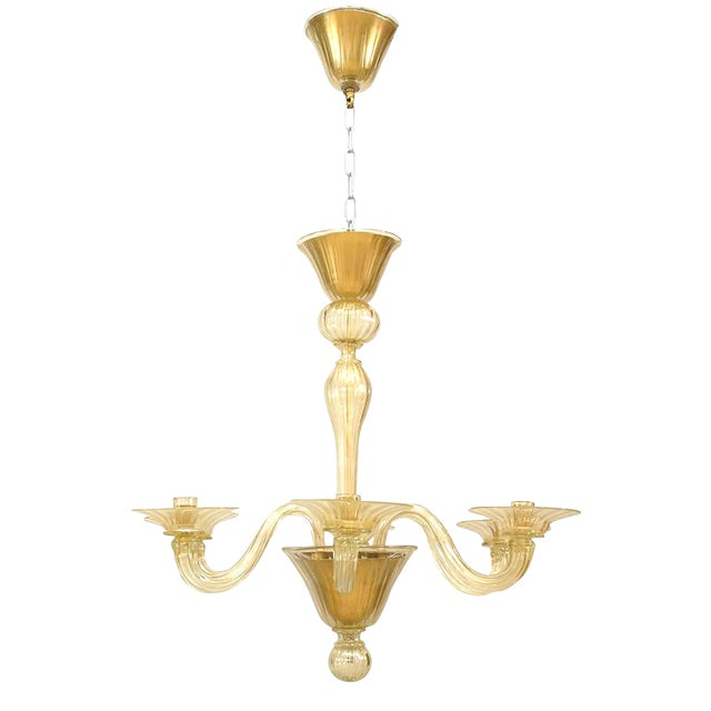 """1990s Italian Murano """"Soffiati"""" Gold Dusted Glass Chandeliers For Sale"""