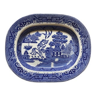 Late 19th Century English Blue Willow Platter For Sale