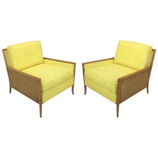 Pair Of Walnut & Yellow Haitian Cotton Lounge Chairs After TH Robsjohn-Gibbings For Sale