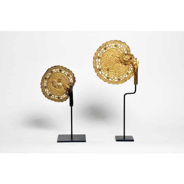These Beautiful monk's fan are from Northern Thailand and feature a gorgeous patina. They have been mounted on metal...