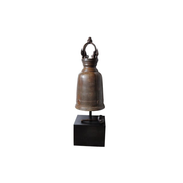 Bronze Thai Temple Bell with Engraving For Sale