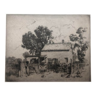 Americana Homestead Etching 1930s For Sale