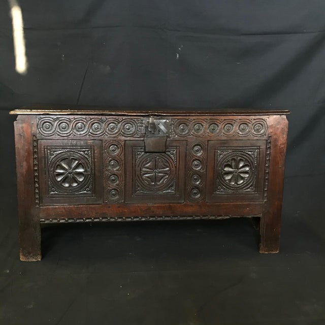 Early 18th Century Antique French Carved Coffer Chest For Sale - Image 9 of 13