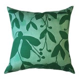 Image of Emerald Fuchsia Pillow Cover by Kate Roebuck For Sale