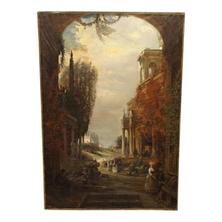 Antique French Oil Painting of 19th Century Life Amongst Roman Ruins For Sale