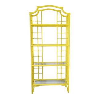 Vintage Chippendale Pagoda Top Painted Rattan Etagere For Sale