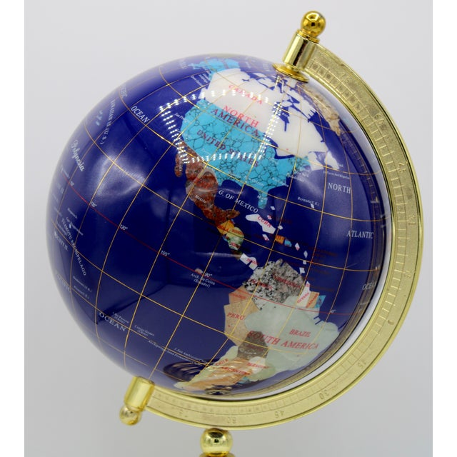 Mid 20th Century Vintage Blue Lapis World Globe on Brass Stand With Semiprecious Gems For Sale - Image 5 of 13