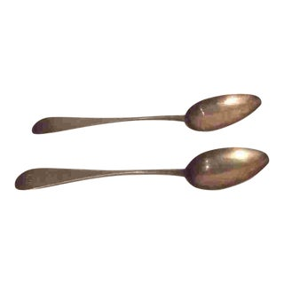 Large Pair Off 18th Cent. American Silver Spoons For Sale