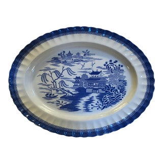 Copeland Chinoiserie Blue and White Willow Platter For Sale