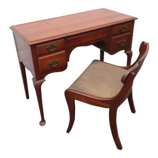 Vanity Writing Desk With Flip Up Mirror and a Chair by Pennsylvania House 1317 For Sale