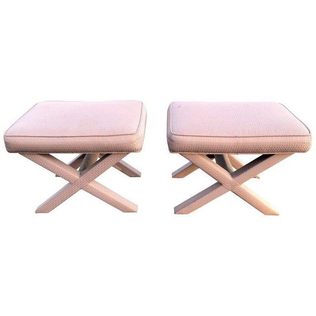 1970s Hollywood Regency Billy Baldwin Style X-Base Stools - a Pair For Sale - Image 12 of 12
