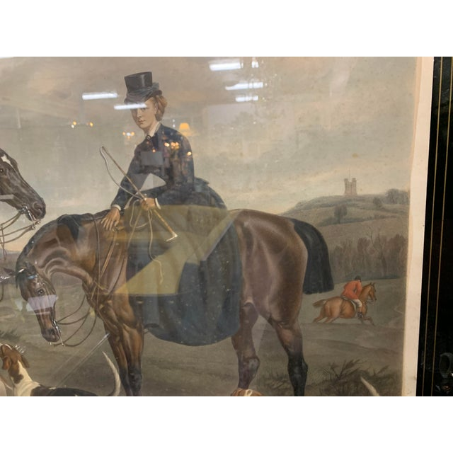 """1870s Large English Engraving of """"The Earl and Countess of Coventry,"""" Hunt Scene For Sale - Image 4 of 5"""