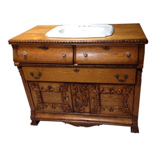 19th Century Victorian Tiger Oak Sink Commode Cabinet For Sale