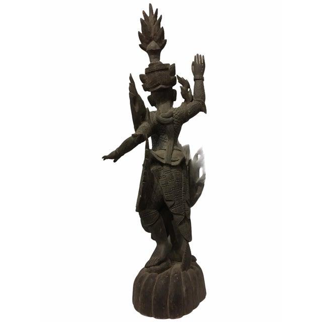 Antique 1920s Carved Khamphi Rosewood Burmese Temple Guardian Statue For Sale - Image 4 of 10