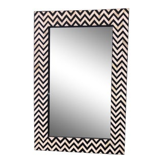 New Black and White Inlayed Herringbone Wall Mirror Hand Made in Morocco For Sale