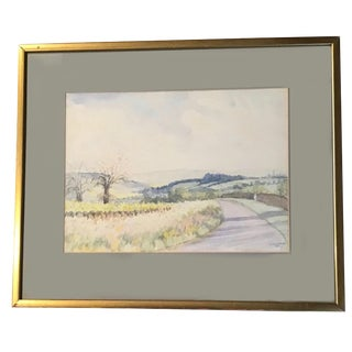 Traditional The Road to Dorothy's House Watercolor Painting With Gilted Frame For Sale