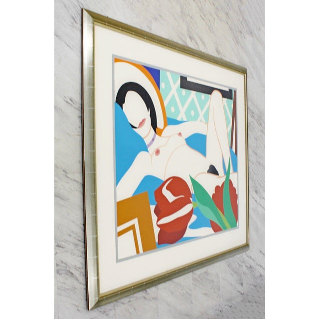Contemporary 1980s Contemporary Modern Framed Signed Lithograph Monica Nude Tulips Wesselmann For Sale - Image 3 of 7