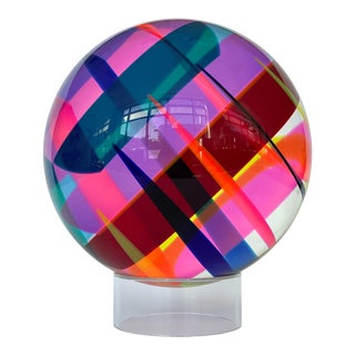 """Vasa Mihich 12"""" Acrylic Sphere Sculpture For Sale"""