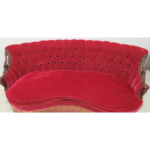 Hollywood Regency Red Velvet Tufted Sofa | Chairish