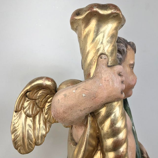 Metal 19th Century Italian Hand Carved & Painted Cherub For Sale - Image 7 of 13