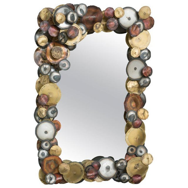 Glass Curtis Jere Raindrops Mirror For Sale - Image 7 of 7