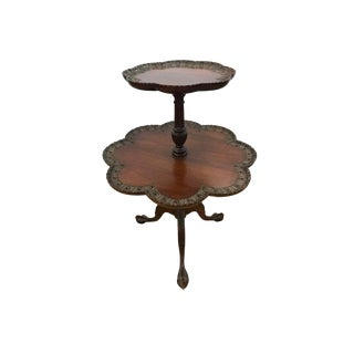 Antique Chippendale Mahogany Two-Tiered Pie Crust Table For Sale