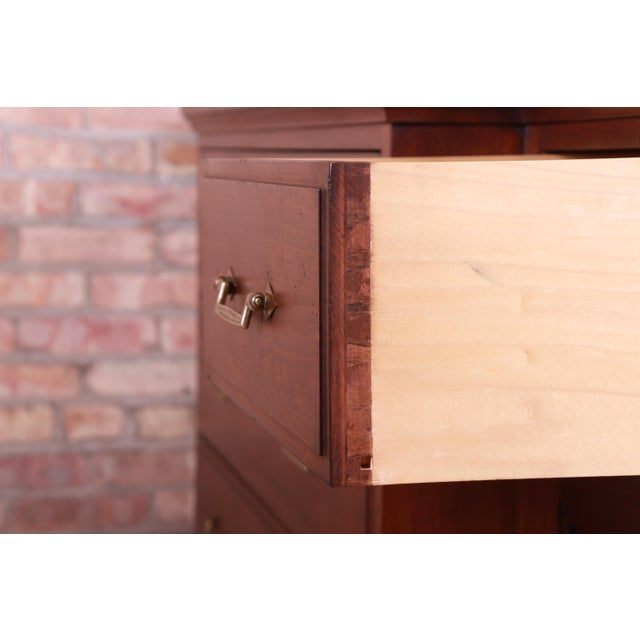 French Provincial Solid Mahogany Marble Top Sideboard Credenza Attributed to Grange For Sale - Image 11 of 13