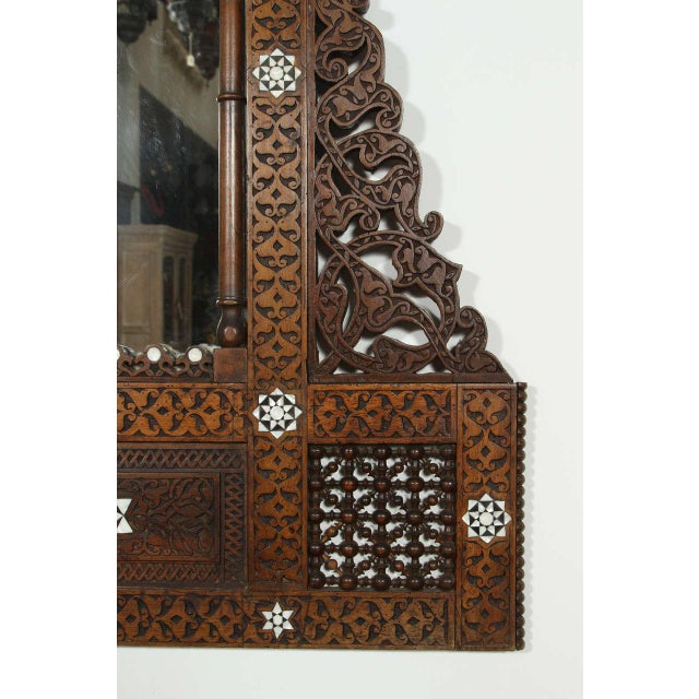 Large antique 19th century Middle Eastern Syrian Damascus arched mirror inlay with mother-of-pearl, could be used as a...