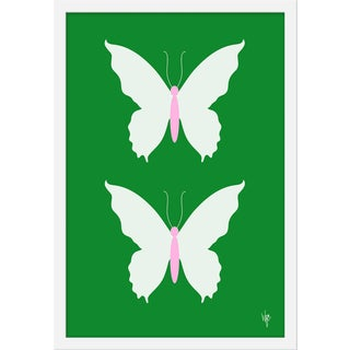 "Medium ""Butterfly White on Green"" Print by Wendy Concannon, 17"" X 21"" For Sale"