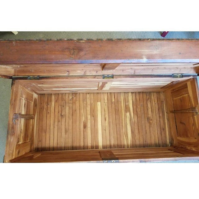 19th Century Antique Victorian Carved Panel Cedar Chest For Sale In Milwaukee - Image 6 of 12