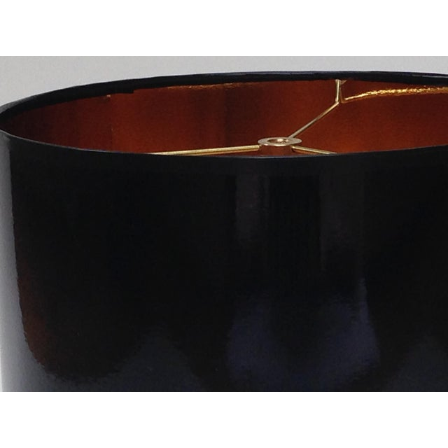 Not Yet Made - Made To Order Black High Gloss Drum Lamp Shade With Gold Lining For Sale - Image 5 of 6