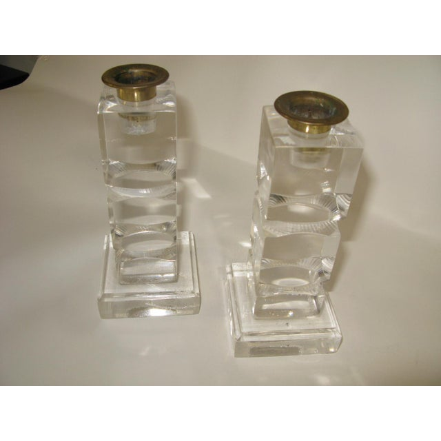 1960s Vintage Lucite Candle Holders - a Pair For Sale - Image 5 of 8