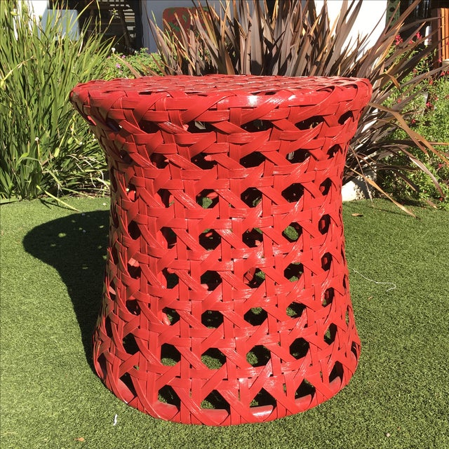 Palecek Woven Red Side Table - Image 2 of 8