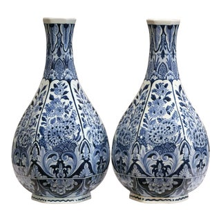 Pair of Mid-20th Century Faience Blue and White Hand Painted Delft Oud Vases For Sale
