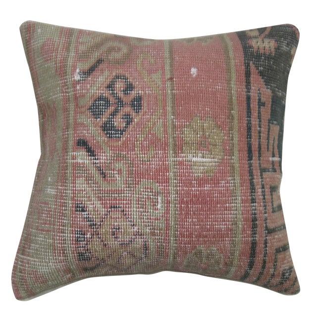 Pink & Blue Khotan Rug Pillow For Sale