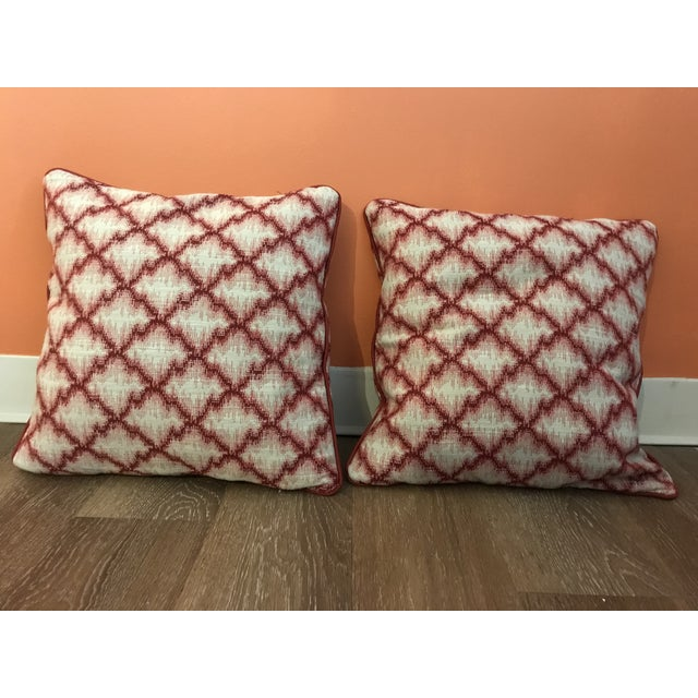Cranberry Red Trend Forward Throw Pillows - a Pair For Sale In Kansas City - Image 6 of 6