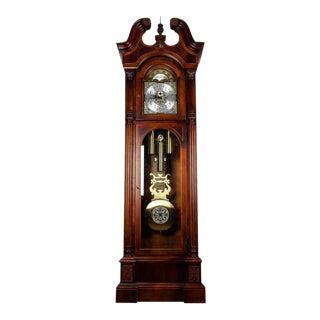 Vintage North American Mahogany Wood Longcase Grandfather's Clock For Sale