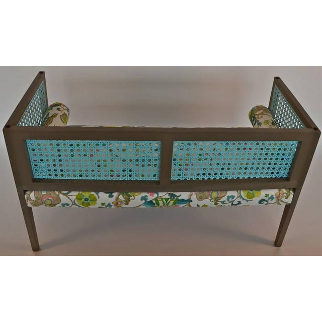 Mid-Century Modern Lacquered and Upholstered Regency Style Settee - Image 2 of 6