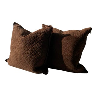 Ralph Lauren Suede Quilted Pillows - a Pair For Sale