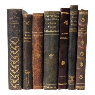 Art Nouveau Leather-Bound Books, S/7