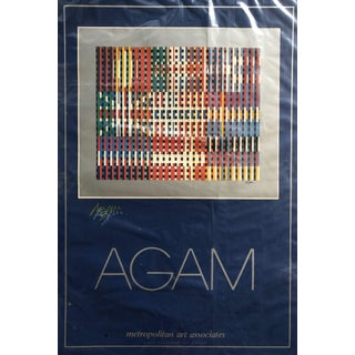 """Yaacov Agam """"Flags of All Nations"""" Double Signed in Color Pencil Poster C.1980 For Sale"""