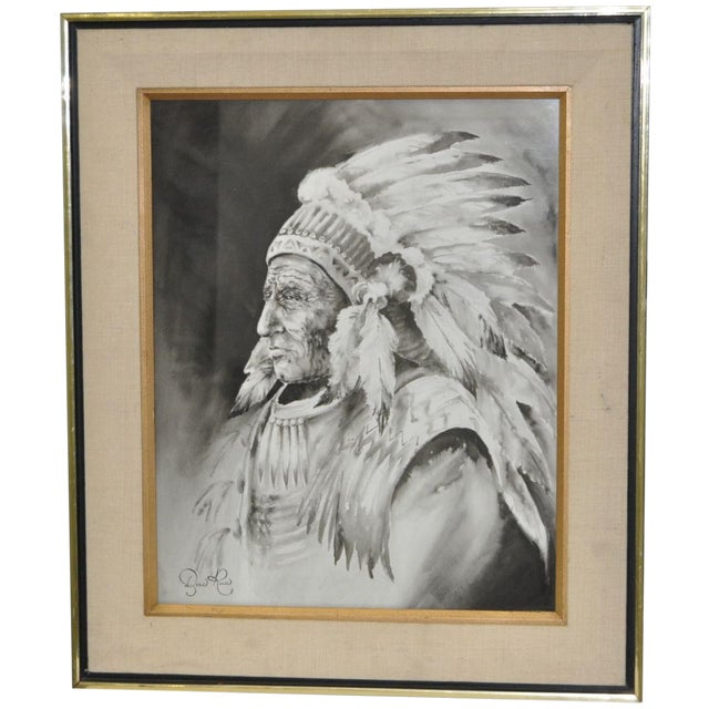 Doris Reese Native American Indian Watercolor For Sale